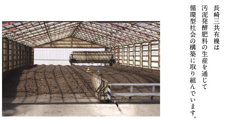 長崎三共有機は汚泥発酵肥料の生産を通じて循環型社会の構築に取り組んでいます。